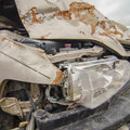 Front car wrecked from accident while texting Royalty Free Stock Images