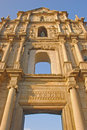 Front centre close vertical view of ruins of st paul in clear blue sky in macau Stock Images