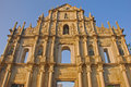 Front centre view of ruins of st paul in clear blue sky in macau Royalty Free Stock Images