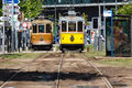 Front of city trolleys at a trolley stop in Porto, Portugal Royalty Free Stock Photography