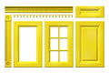 Front collection of yellow door, drawer, column, cornice for kitchen cabinet isolated on white