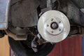 Front disk brake on car in process of damaged tyre replacement. Stock Image