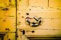 Front door amarillo rústico Imagenes de archivo