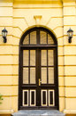 Front door of a beautiful brown Royalty Free Stock Photography