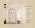 Front door European house. Elegant London townhouse. Vintage sty Royalty Free Stock Photo