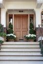 Front door, front view of front brown door Royalty Free Stock Photo