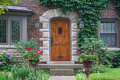 Front door of house with ivy Royalty Free Stock Photo