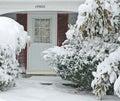 Front Door and Walkway In Big Snowstorm Royalty Free Stock Photo