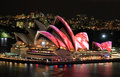 Front elevated view of sydney opera house australia june during vivid festival event Stock Photos