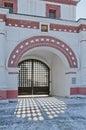 Front gates in Kolomenskoe Stock Images