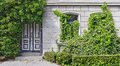 Front of a house overgrown by ivy with the number nine heavily Royalty Free Stock Photos