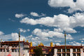 Front jokhang temple blue sky lhasa tibet a beautiful and the entrance to the tourist landmark and pilgrimage destination the Royalty Free Stock Photo