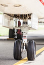 Front landing gear of a jet commercial airplane Royalty Free Stock Image