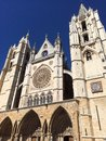Front of leon s cathedral with rosette gothic style Stock Photo