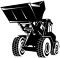 Front loader black and white Royalty Free Stock Photography