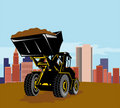 Front loader with buildings Royalty Free Stock Images