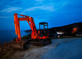 Front loader on curvy Greek road Stock Photography