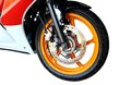 Front motorcycle disk break and tire isolated on white background Royalty Free Stock Photo