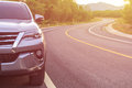 Front of new silver SUV car parking on the asphalt road Royalty Free Stock Photo
