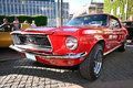 Front of an old american retro car mustang vintage hits on the main square in borås this is our version the concours de charme Royalty Free Stock Photography