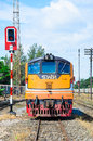 Front of old g e locomotive and parking at nakonratchasima station thailand Stock Image