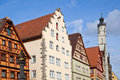 Front old houses famous medieval town rothenburg ob der tauber germany Royalty Free Stock Image