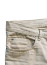 Front pocket denim trousers beige Royalty Free Stock Photo