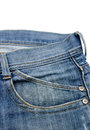 Front pocket with a seam on the blue jeans isolated white background Stock Images