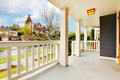 Front porch house exterior with spring street Stock Images