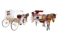 Front and rear view of horse fairy tale carriage cabin isolated white background use for transport decoration object Royalty Free Stock Photography
