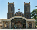 Front of sacred heart church in bengaluru bangalore india circa october a few school kids gather the entrance to the Royalty Free Stock Images