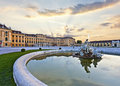 Front of the Schoenbrunn Palace in Vienna at sunset - Austria. Royalty Free Stock Photo