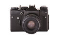 Front shot of the old film black camera Royalty Free Stock Image