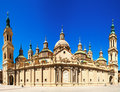 Front side of the cathedral of our lady of the pillar zaragoza aragon Royalty Free Stock Images