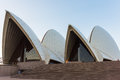 The front of the Sydney Opera House at dusk