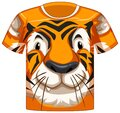 Front of t-shirt with face of tiger pattern