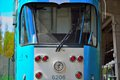 Front of a tram vintage in the street Stock Photo
