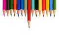Front view of aligned coloring crayons isolated in white background Stock Images