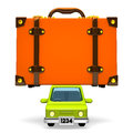 Front view of big travel luggage on car d render illustration white Stock Photo