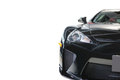 Front view of black shiny attractive colored luxury motor car Royalty Free Stock Photo