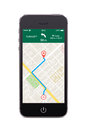 Front view of black smart phone with map gps navigation app on t Royalty Free Stock Photo