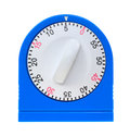 Front view of a blue kitchen timer the showing the white dial and numbers on white background Royalty Free Stock Photos