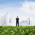 Front view of businessman with arms crossed standing in a green field with city skyline in the background Royalty Free Stock Photo