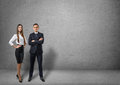 Front view of businessman and businesswoman standing Royalty Free Stock Photo