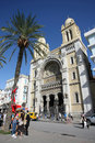 Front view of cathedral of st vincent de paul tunis tunisia september th avenue habib bourguiba tourists in roman catholic in Stock Photo