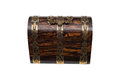 Front View of a Closed Antique Chest-Type Wooden Jewelry Box Royalty Free Stock Photo