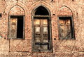 Front view of door and windows of an abandoned house in amritsar india Stock Images