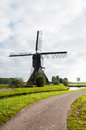 Front view Dutch windmill in autumn Royalty Free Stock Photo