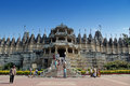 Front view of jain temple ranakpur the main at india more than domes and white marble pillars all differents a beautiful against Royalty Free Stock Photo