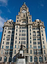 Front view of Liver Buildings, Liverpool Stock Photo